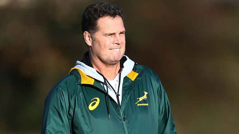test Twitter Media - A Murrayfield fortress awaits Rassie Erasmus on Saturday as South Africa's coach returns to the ground where he helped inflict Scotland's greatest home loss in his playing days: https://t.co/hPPBbjcQwH https://t.co/Q1oS3r8a4U