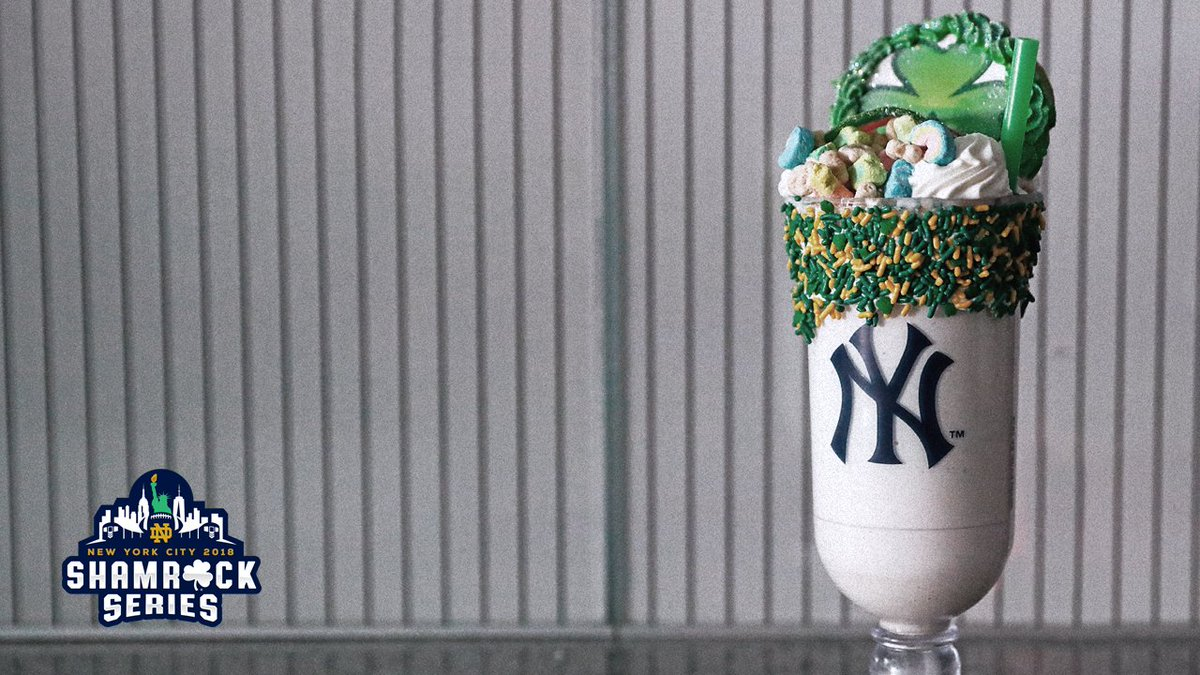 We're shakin' it up. ☘️  For tomorrow's game, we're offering a SHAMROCK SHAKE. Available in vanilla or chocolate, with green, gold, and shamrock sprinkles, fresh whipped cream, lucky charms, & a shamrock cookie. Sections 112 and 324.