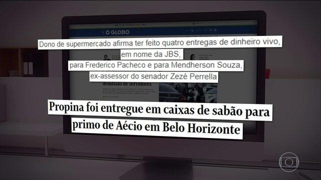 Um dos donos do supermercado BH, de Belo Horizonte, disse, em depoimento, que entregou dinheiro de propina da JBS para representantes do senador Aécio Neves, em caixas de sabão em pó. https://t.co/pHAZV5AH4b #JornalHoje