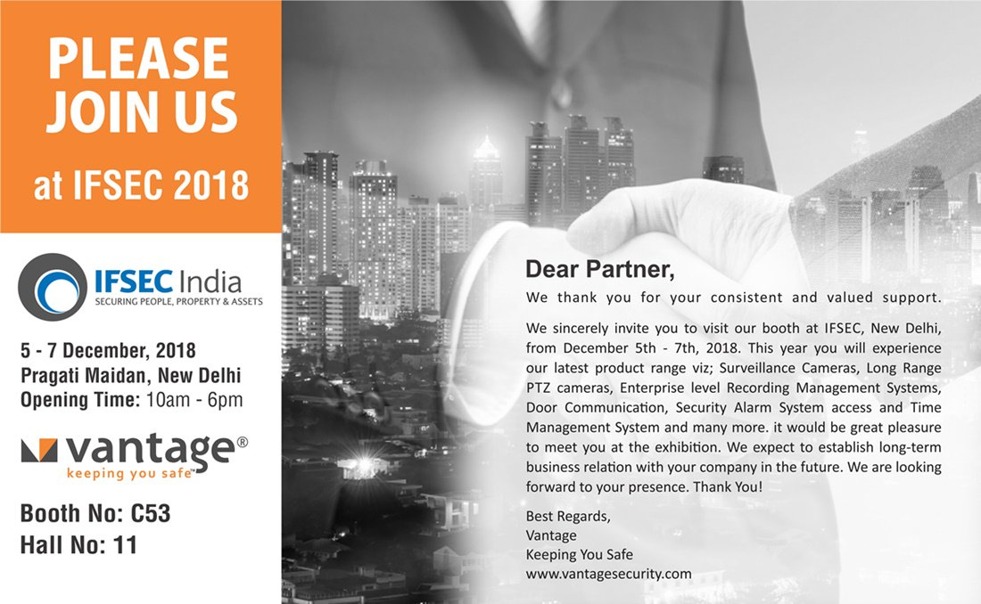 #Vantage is once again getting revved up for another big show @ #IFSEC India 2018, its 9th time exhibiting For More info.Visit Now👉//bit.ly/2NHVRBV #keepingyousafe #event #exhibitions #India #CCTV #Security #iot #smartcity #uk #usa #solutions #wireless #system #surveillance #UAE