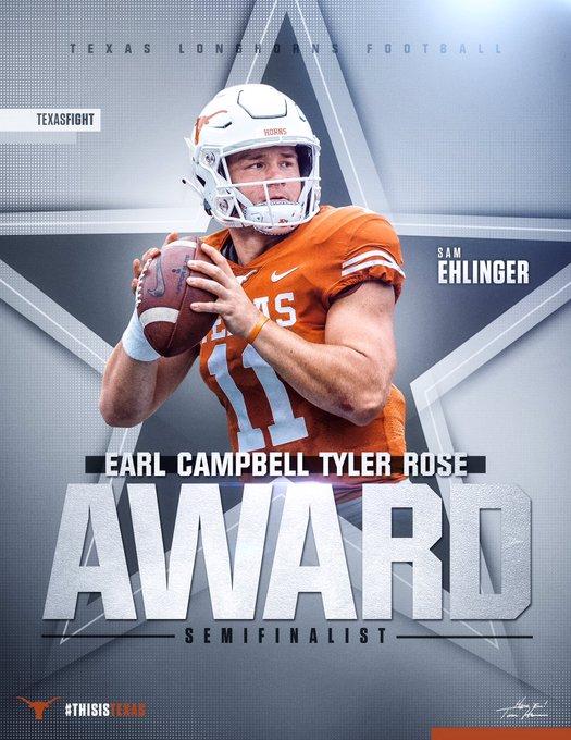Sam Ehlinger and Lil'Jordan Humphrey named semifinalists for the Earl Campbell Tyler Rose Award. @sehlinger3 @LJ_Humphrey23 #ThisIsTexas #HookEm Photo