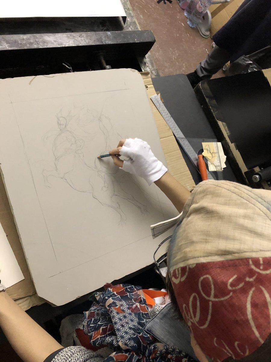 【フランス訪問記06】そしてなんと!リトグラフを作っていただけるとのことで、急に舞い込んだ夢の体験にタジタジになりながらも素敵なイラストを描きあげた墨佳さんに拍手!