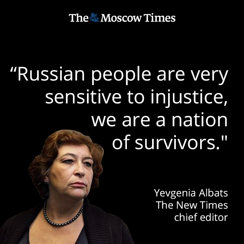 """In our first episode of #FromRussiaWithNews, New Times editor Yevgenia @albats tells us how crowdfunding came to her rescue after her magazine was handed the """"largest fine in Russian media history."""" Listen here: https://t.co/FenbYyS2DO"""