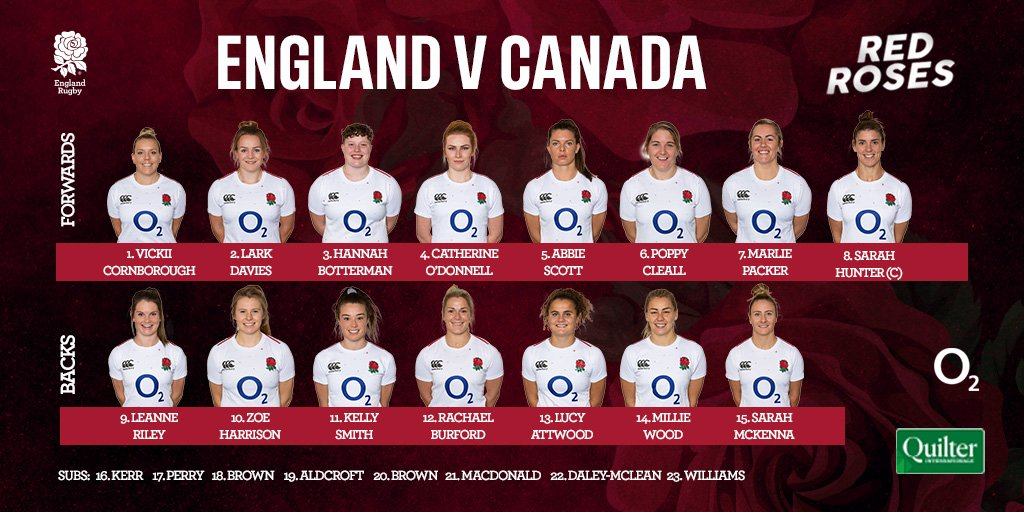 test Twitter Media - Your #RedRoses squad to take on @RugbyCanada in the #QuilterInternationals, LIVE on https://t.co/5CaTGD1ydf at 14:00 GMT this Sunday 🌹  Preview ➡ https://t.co/kDMF9SwPIF https://t.co/meUJvoMmzp