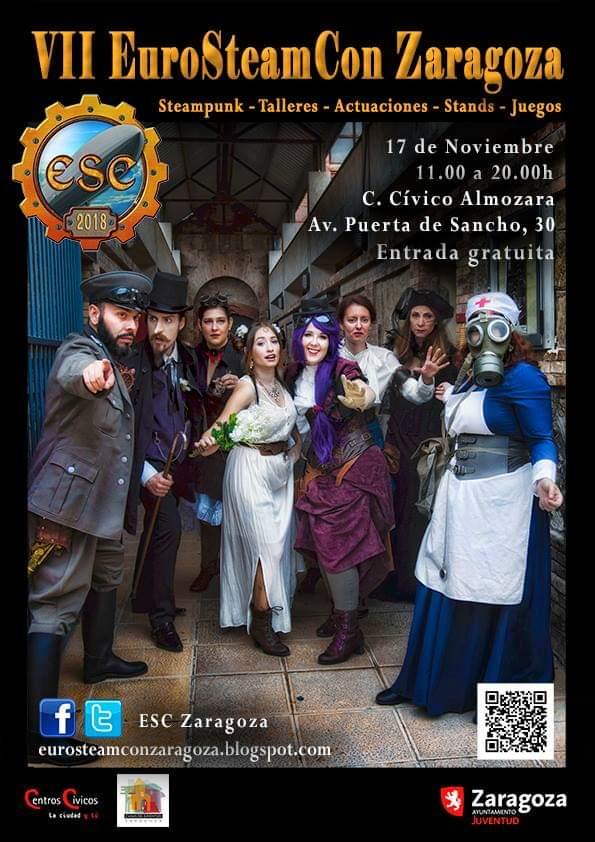 #EuroSteamConZgz VII edición,CC La Almozara,17 de noviembre. Actividades,juegos,concursos. talleres,un espacio de encuentro para seguidores del #Steampunk.   #EscZaragoza #ESCZgz #ESCZaragoza #EuroSteamConZaragoza #Zaragoza #EuroSteamCon #SteampunkZgz #SteampunkZaragoza #Ocio