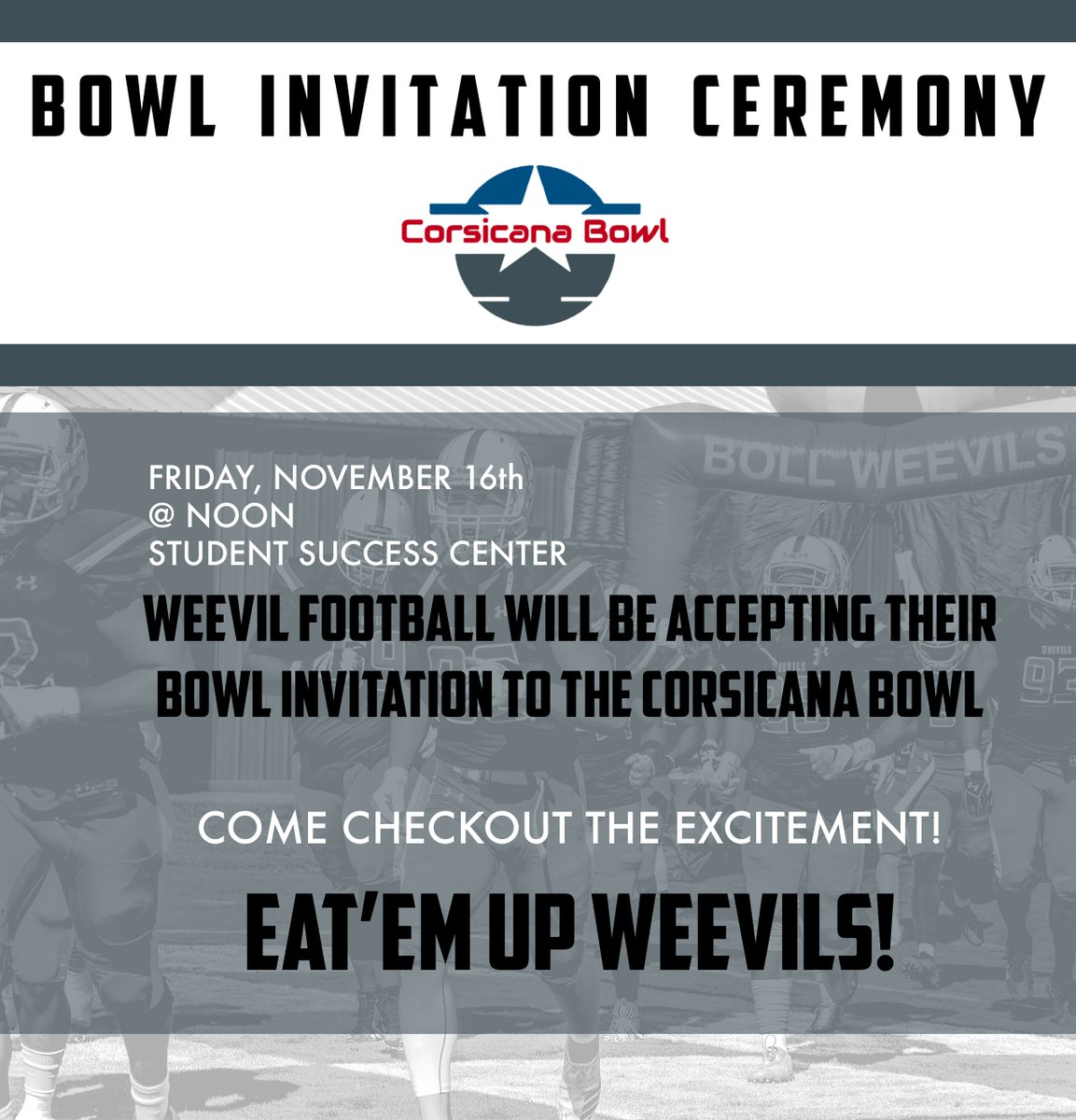 uam sports on twitter football bowl invitation ceremony will be