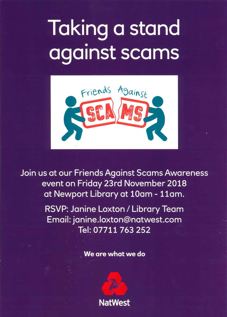 Friends against scams event - Friday 23 November 10am-11am at Newport Library. Book a space by emailing Newport.library@telford.gov.uk #Newport<br>http://pic.twitter.com/YcSToZtG8I