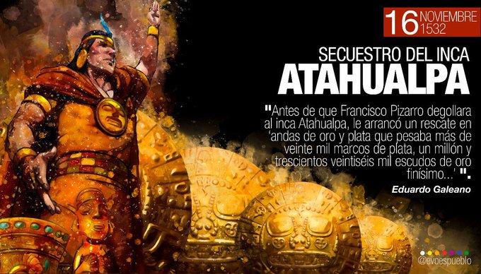 Como hoy, 1532, el invasor Francisco Pizarro secuestró al inca Atahualpa. Miles de indígenas murieron ese día a manos de los españoles, cuya única motivación era la codicia. Los pueblos indígenas hemos resistido, y más de 500 años después, seguimos recuperando nuestra identidad. Foto