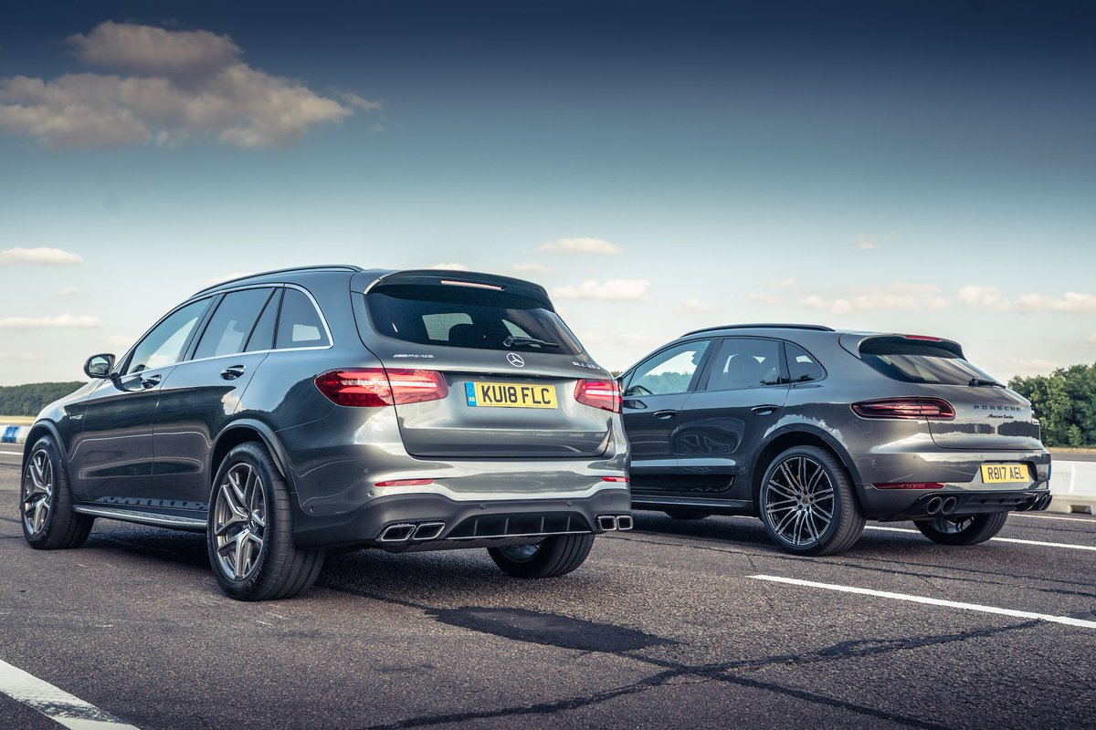 Mid-size SUV hot rods are all the rage these days. Here, we take a walk around two of the hottest: the Porsche Macan Turbo Performance Pack, and the Mercedes-AMG GLC 63 S. Which one gets your vote? topgear.com/videos/video/m…