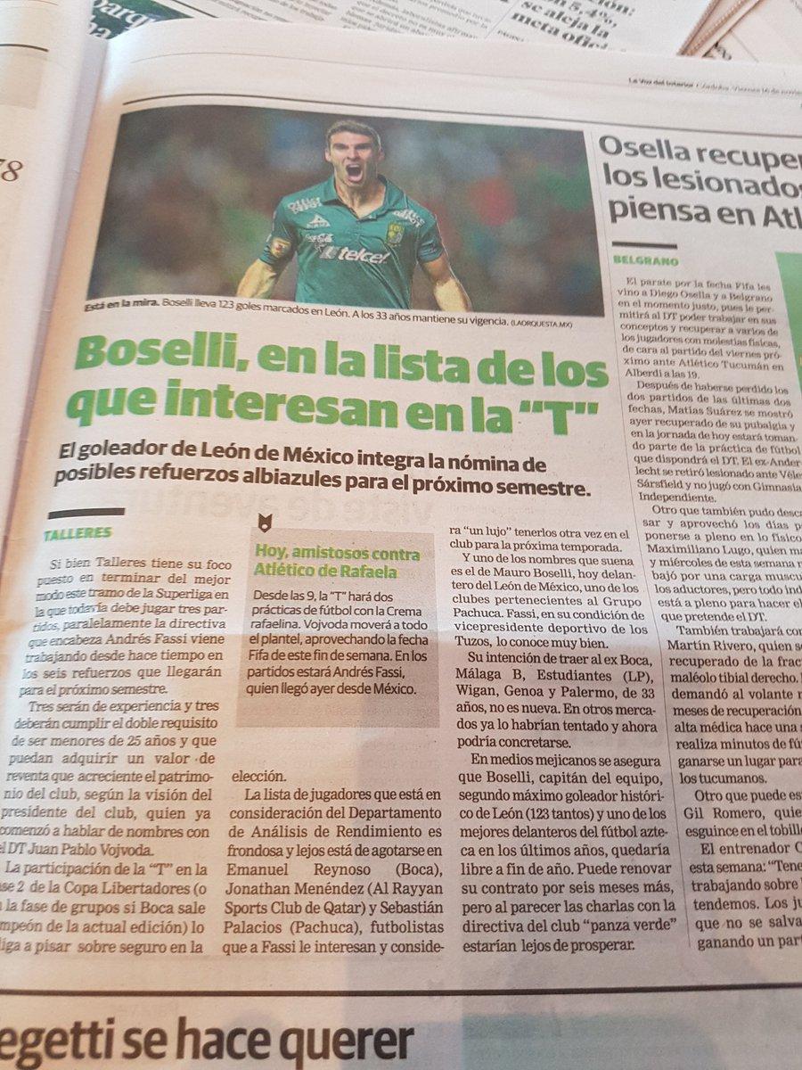 La Voz de Córdoba habla sobre el posible arribo de Boselli a Talleres