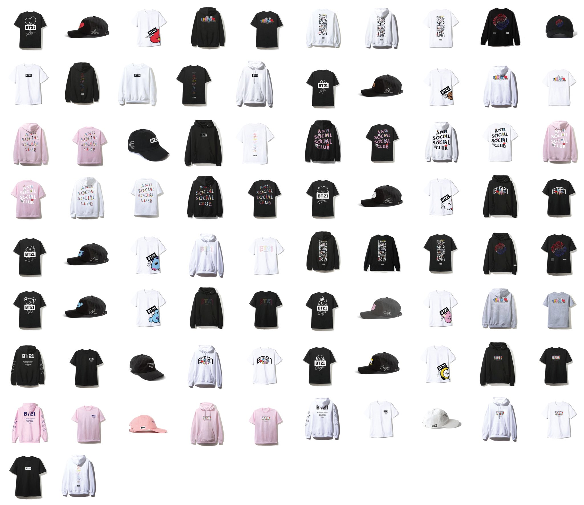 d264acfedbe29 Approximately 50 pieces! BT21 x Anti Social Social Club - Celebrity ...