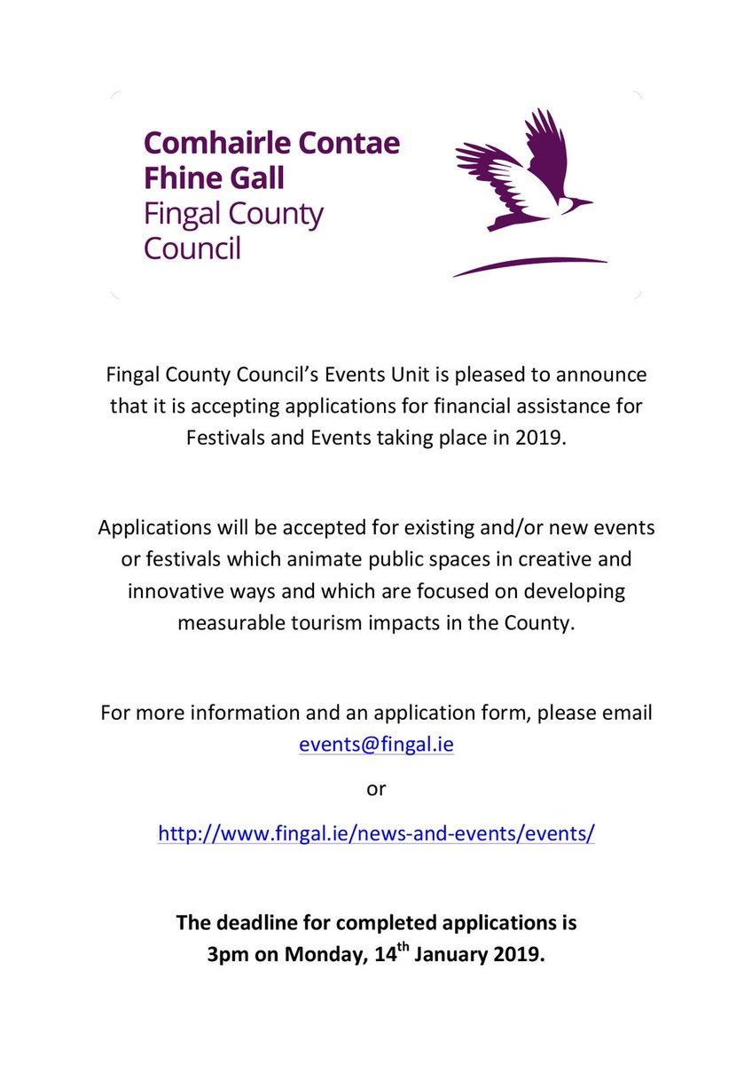 Practical financial support for events and festivals in Fingal for community groups and local clubs and organizations:
