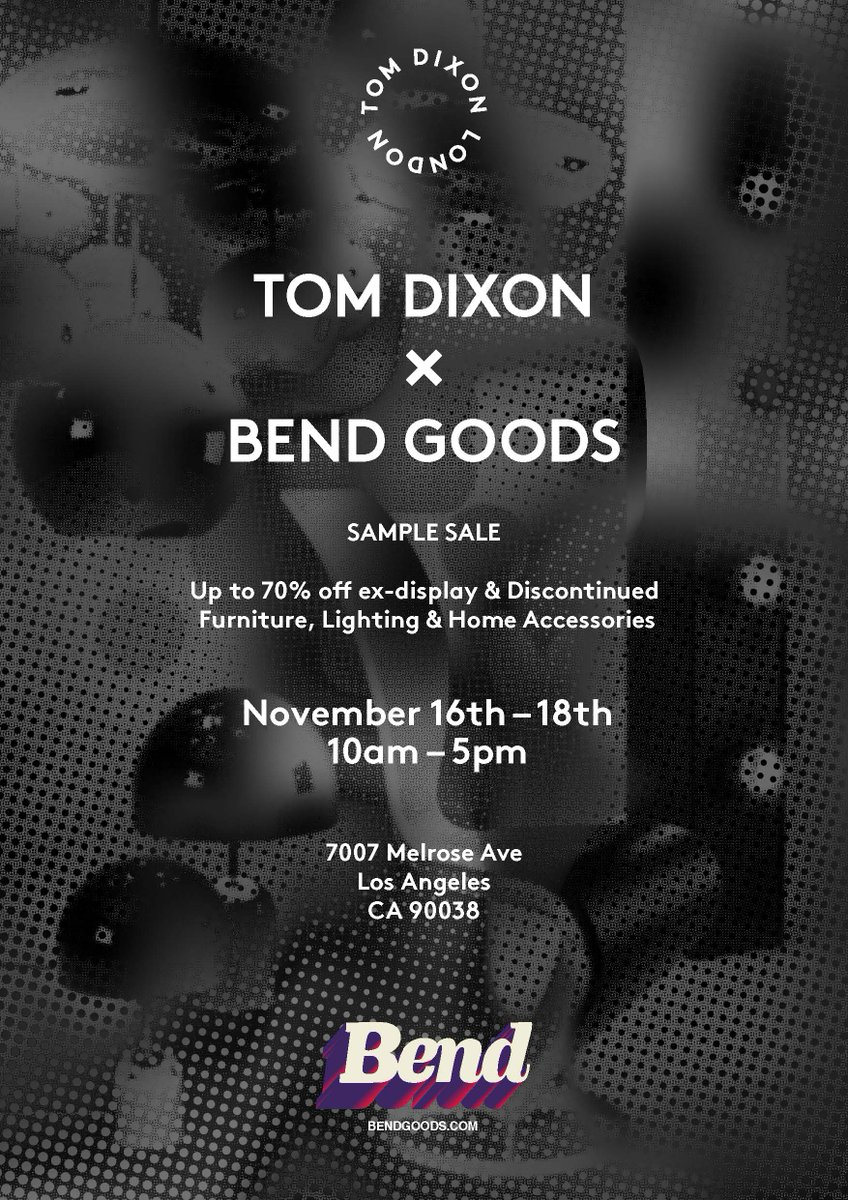dceefdc97dbc Join us in Los Angeles at the @BendGoods Showroom (who are also having a sample  sale!) 7007 Melrose Ave Los Angeles CA 90038 Open: November 16th - 18th  10am ...