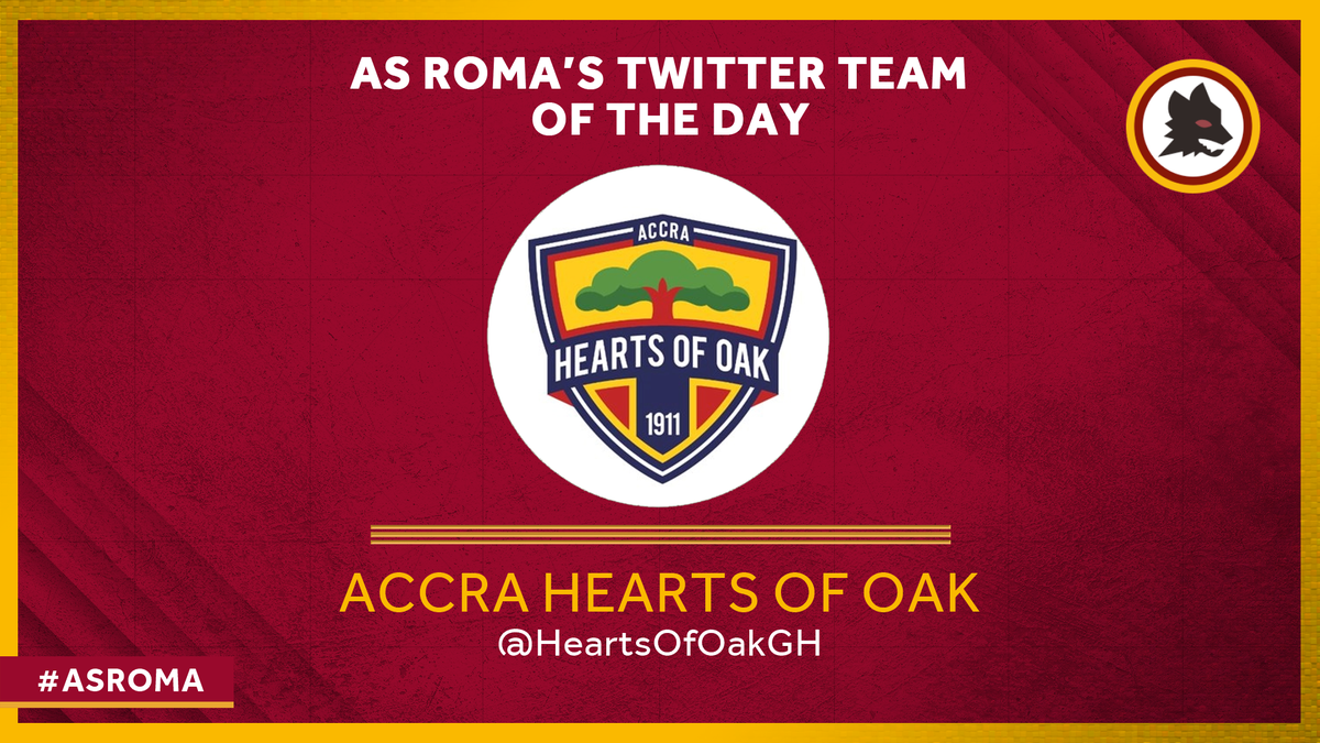 #ASRoma's latest Team of the Day is Ghana's @HeartsOfOakGH. Founded in Accra on the 11th November 1911 and nicknamed the Phobia for the fear they impart on the opposition, they've won 20 league titles, 10 FA Cups and are the most followed Ghanaian club on Twitter. Kudos! 🇬🇭🤝🇮🇹