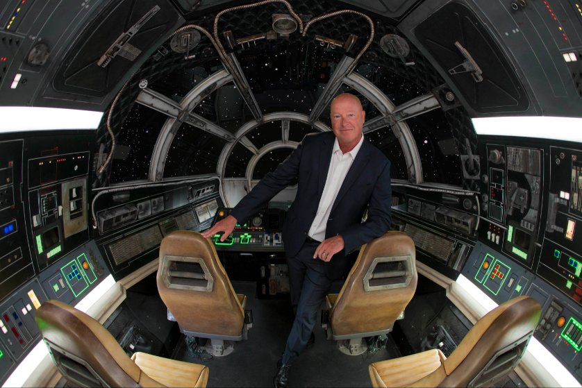 This is what the inside of the cockpit looks like. Pictured is Bob Chapek, who is leading the Disney Parks charge.