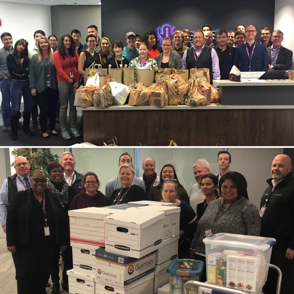 Team SOSi delivered the makings for #Thanksgiving meals for 50 #NoVA families served by our community partner @Cornerstonesva. They were collected and packaged by our Vienna and Reston colleagues who embrace our company-wide commitment to community service. #ChallengeAccepted