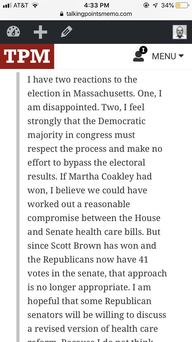 3/ Here was the first high profile Dem reaction to Scott Brown's win in Mass, that Dems should give up on Obamacarhttps://t.co/rC5MyJXj5Re