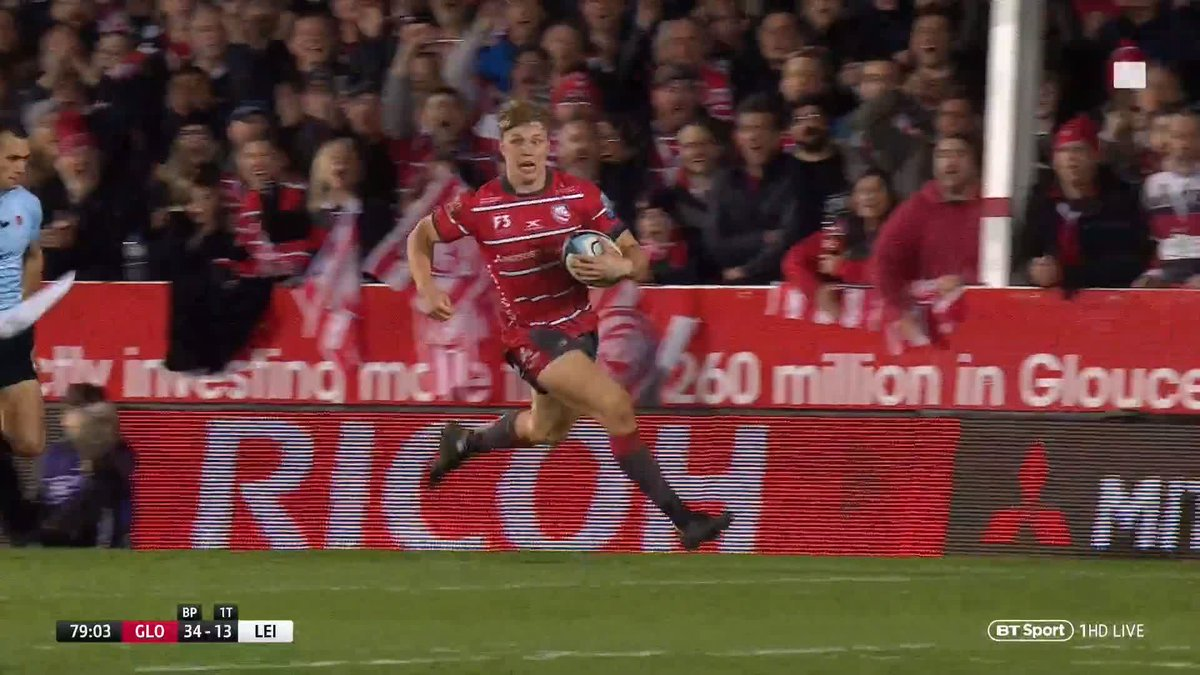 This heroic try by Gloucester's Ollie Thorley was voted Gallagher Premiership try of the season at last night's end of season awards 🔥