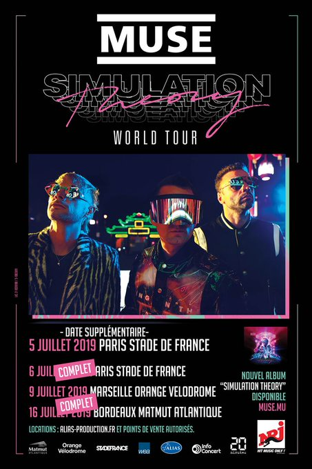 FRANCE! Muse are pleased to announce a second show in Paris at Stade de France on 5 July 2019. The first Paris show on 6 July & 16 July in Bordeaux are now sold out. Tickets available Thursday 22 November at 10a CET. Details here: #SimulationTheory Фото