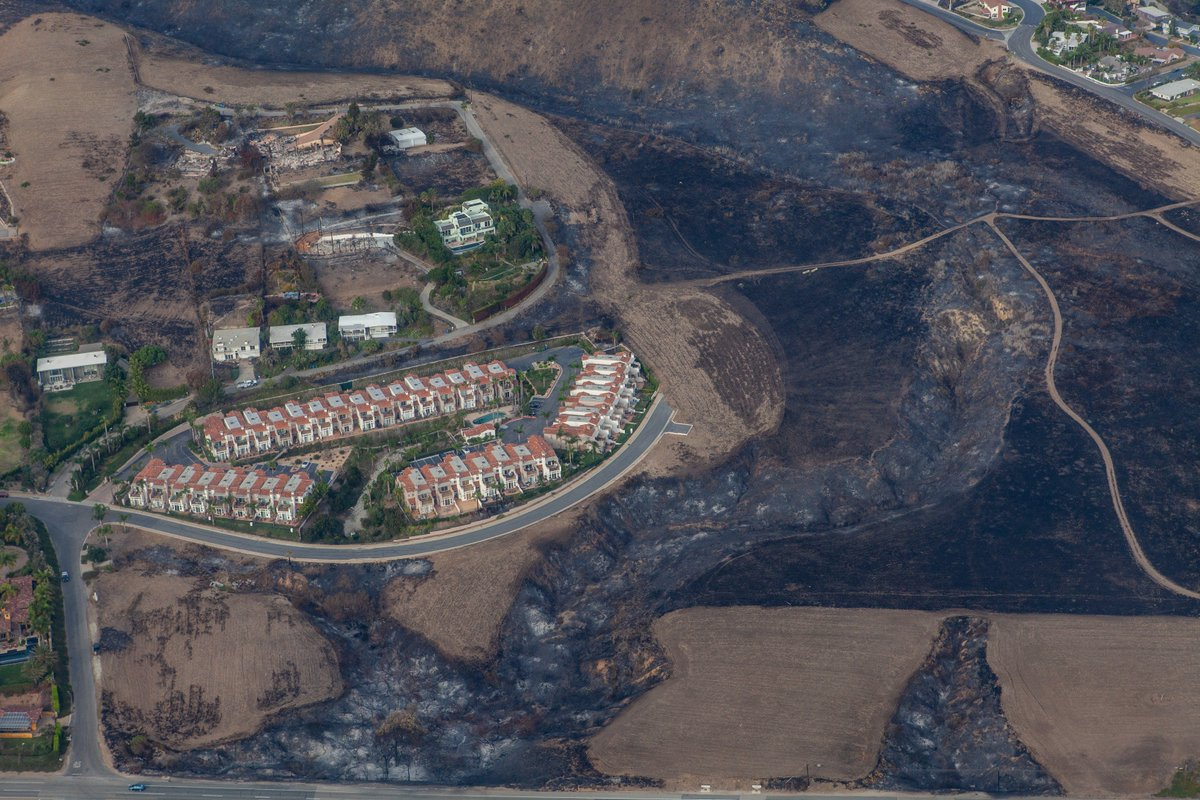 aerial photo of Woolsey Fire burn area