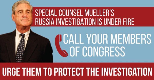 As acting attorney general, Whitaker can defund, constrain or shut down Mueller's investigation. That's what's at risk if We the People dont push the Senate to act. Call your senators and demand they join the call for a floor vote on bipartisan legislation to #ProtectMueller👇🏽