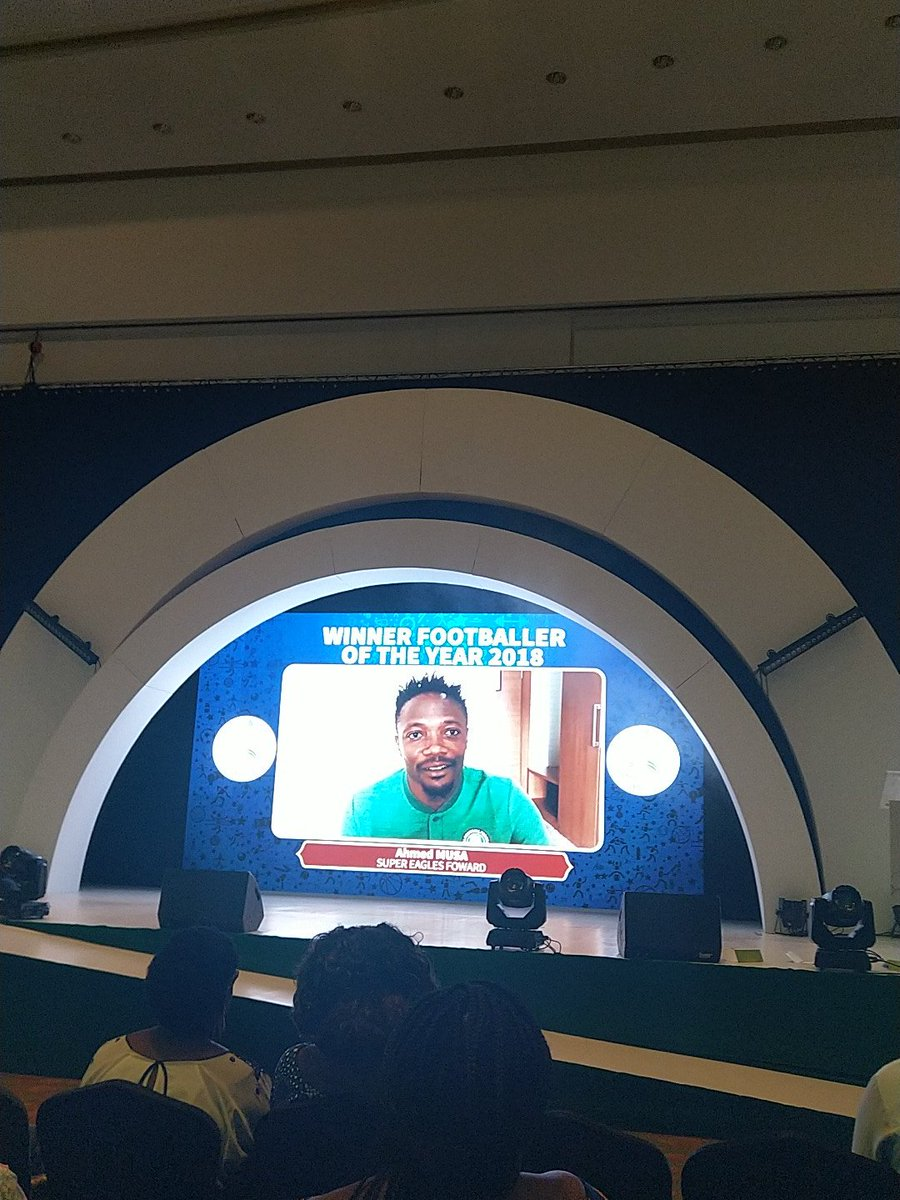 Ahmed Musa has been named Footballer of the Year at the Nigerian Sports Awards 2018. Hes in Johannesburg, South Africa for an AFCON qualifier and is unable to accept in person. A good year for Musa who scored a brace at the World Cup and is living big in Saudi Arabia.