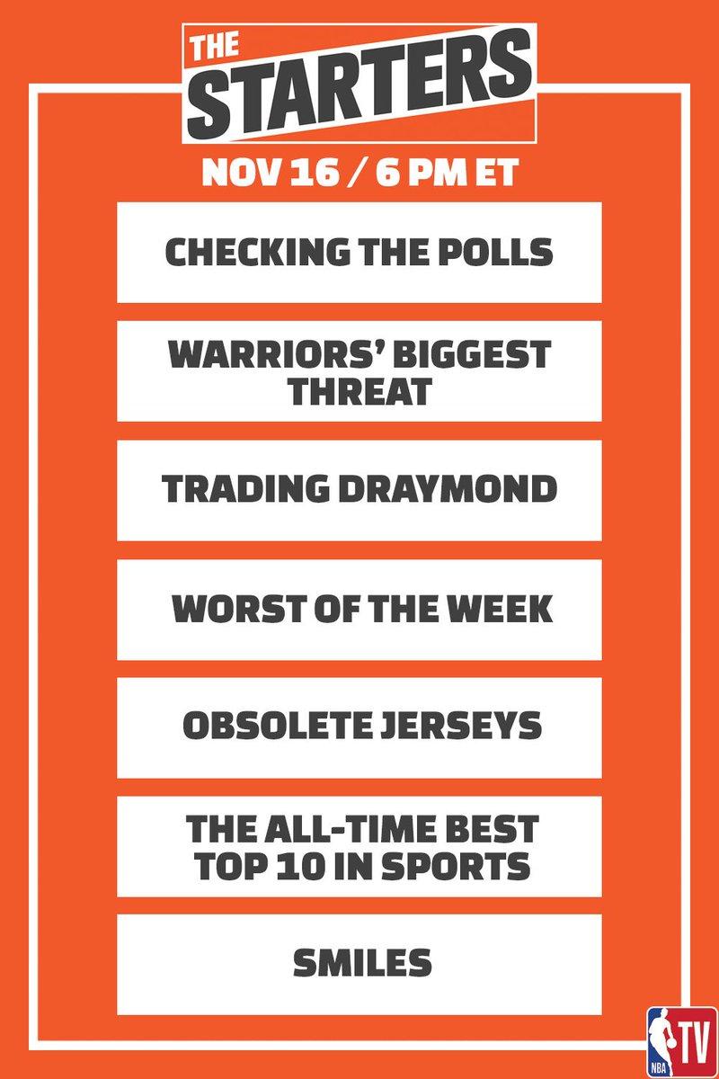 Tonight on #TheStarters at 6pm ET on @NBATV: