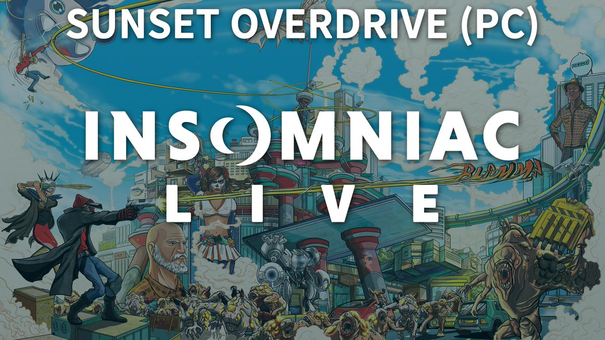 Join us in ONE HOUR for a very special Insomniac Live! Playing @SunsetOverdrive on PC! Come hang out and chat! twitch.tv/insomniacgames
