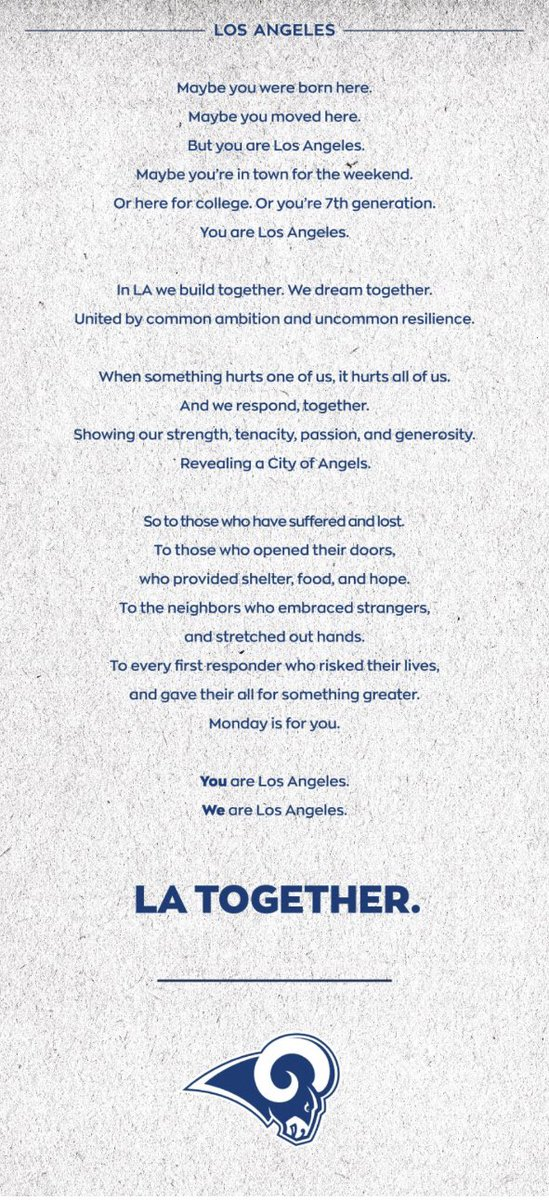 So @RamsNFL ran a full-page ad today on back of @latimes sports page, thanking first-responders.
