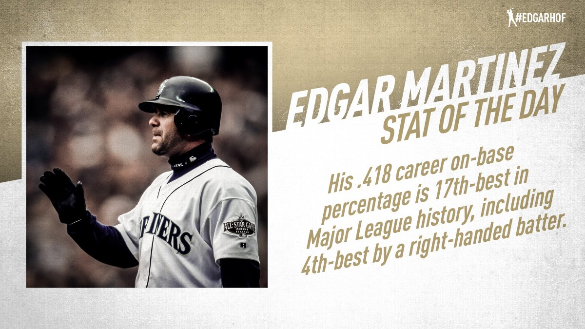 The only right-handed batters with a higher career on-base percentage than Edgar Martinez are all in the Hall of Fame: Rogers Hornsby, Jimmie Foxx and Frank Thomas. #EdgarHOF More: atmlb.com/2RSjDJO