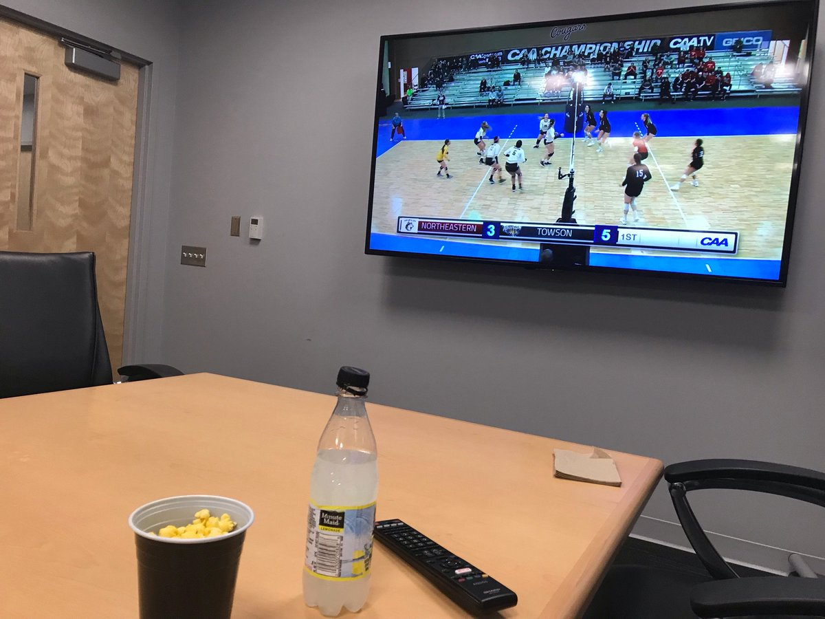 What do you do as a sport administrator when you get snowed in? Throw a watch party for @Towson_VB #CAATV