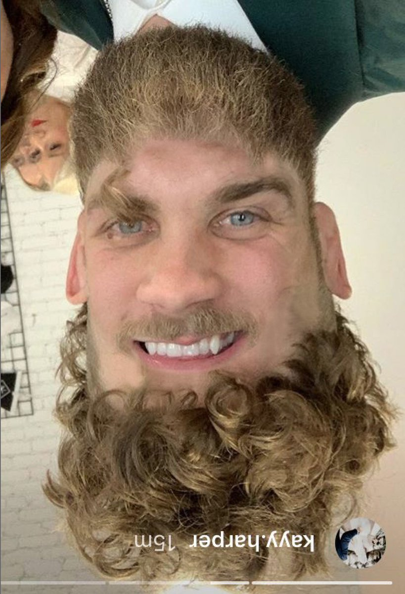 Bryce Harper has curly hair now out so we swapped his hair and his beard dont ask questions