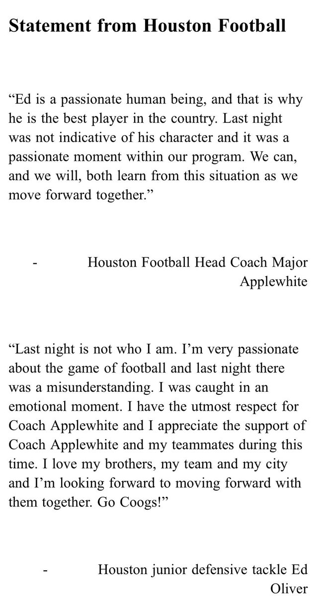 Houston coach Major Applewhite and DT Ed Oliver release statements on last night's sideline incident: