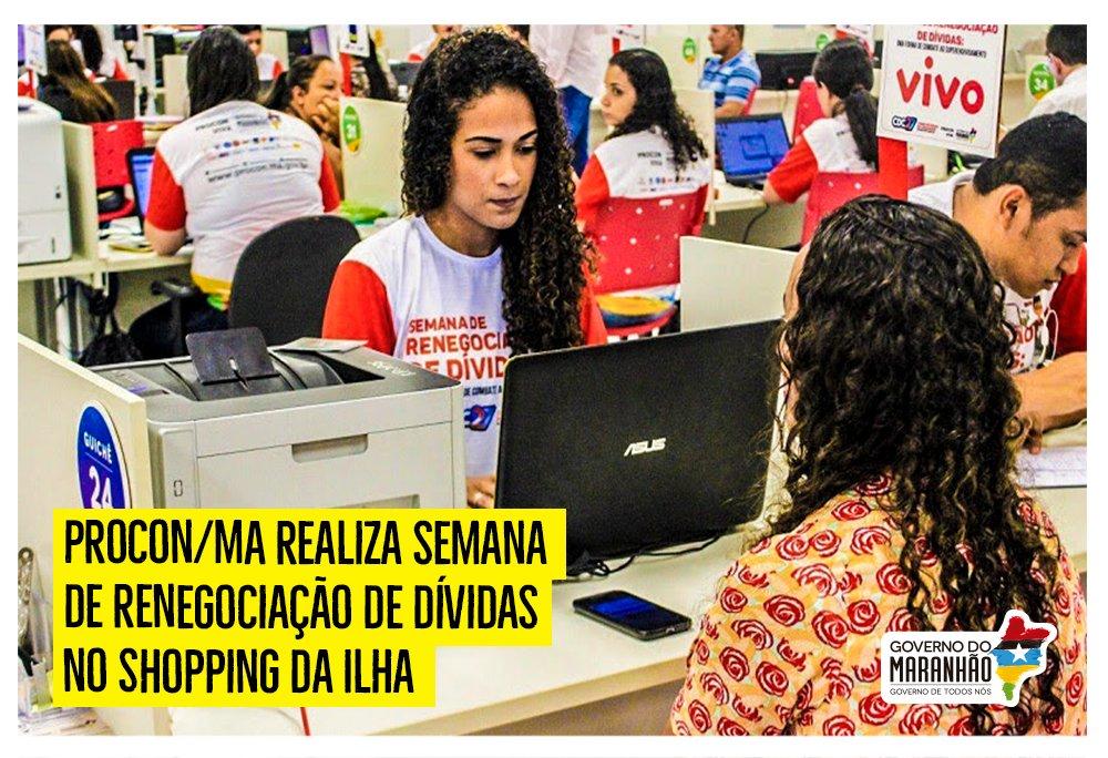 O @ProconMaranhao promove, de 21 a 24 de novembro, das 10h às 19h, no Shopping da Ilha, mais uma semana de renegociação de dívidas. A ação oferece maior facilidade no financiamento de seus débitos e busca os melhores meios de solução. https://t.co/Y6fZTMm5dq  #GovernoDeTodosNós