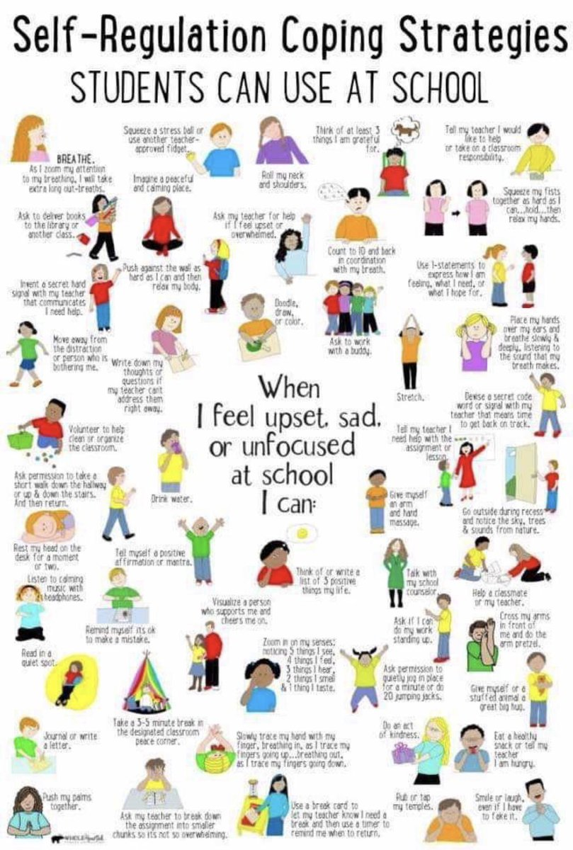 These are great coping skills to teach students for self-regulation. #mentalhealth #students #school