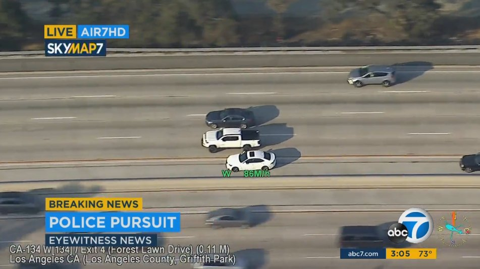 #LIVE: Suspect weaving through traffic on westbound 134 Freeway as #chase continues through Glendale, past Griffith Park https://t.co/VtAbkZgmbA