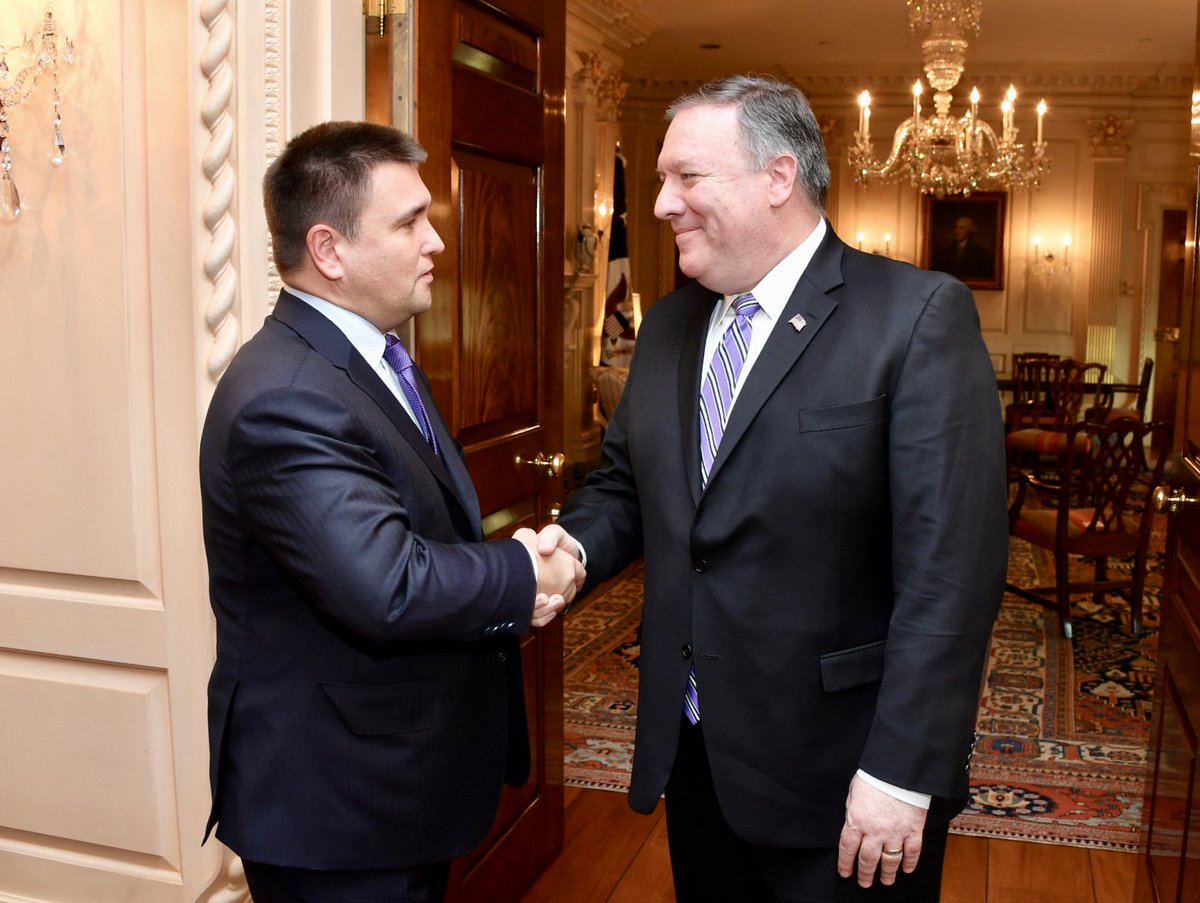 It is my pleasure to welcome #Ukraines Foreign Minister @PavloKlimkin to Washington as we restart the U.S.-Ukraine Strategic Partnership Commission. We continue to stand with Ukraine and call on #Russia to cease its aggression.
