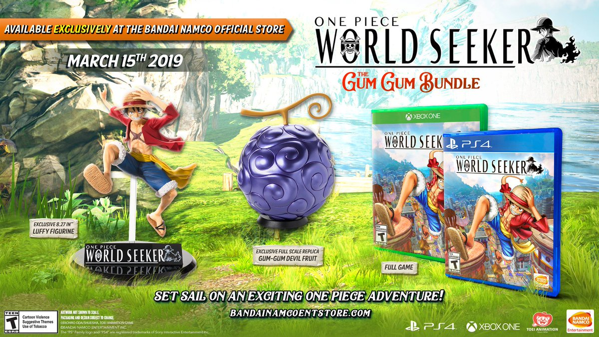 Set sail on an epic #OnePiece adventure in the best way. Order the Gum Gum Bundle to get a copy of #OnePieceWorldSeekerWorldSeeker, an 8.27' Luffy Figurine, and a full scale replica of the Gum-Gum Devil Fruit.   Available exclusively at the Bandai Nahttps://t.co/8yqBKd2oyjmco store: