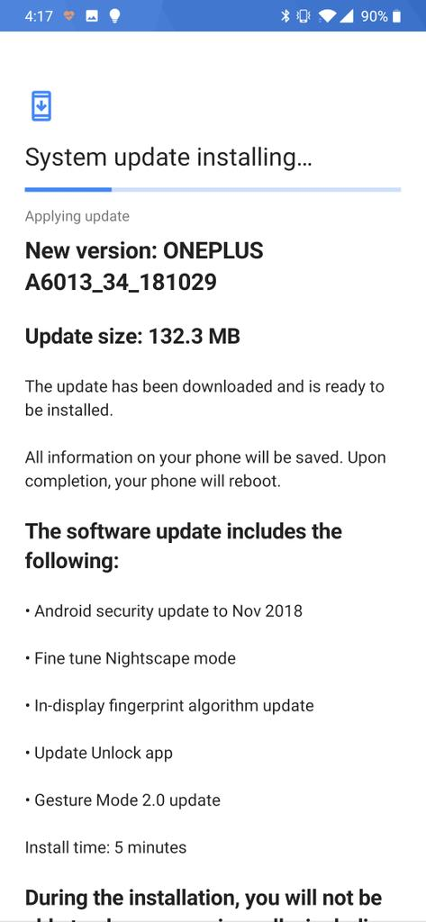 @OnePlus #OnePlus6T @TMobile Thanks for quick update