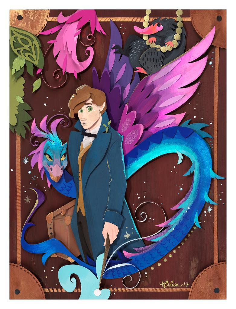 Wands at the ready, wizards. You never know what kind of beasts you will see!  @FantasticBeasts is out now. https://t.co/K1yyZWhdbb (by nathsketch)