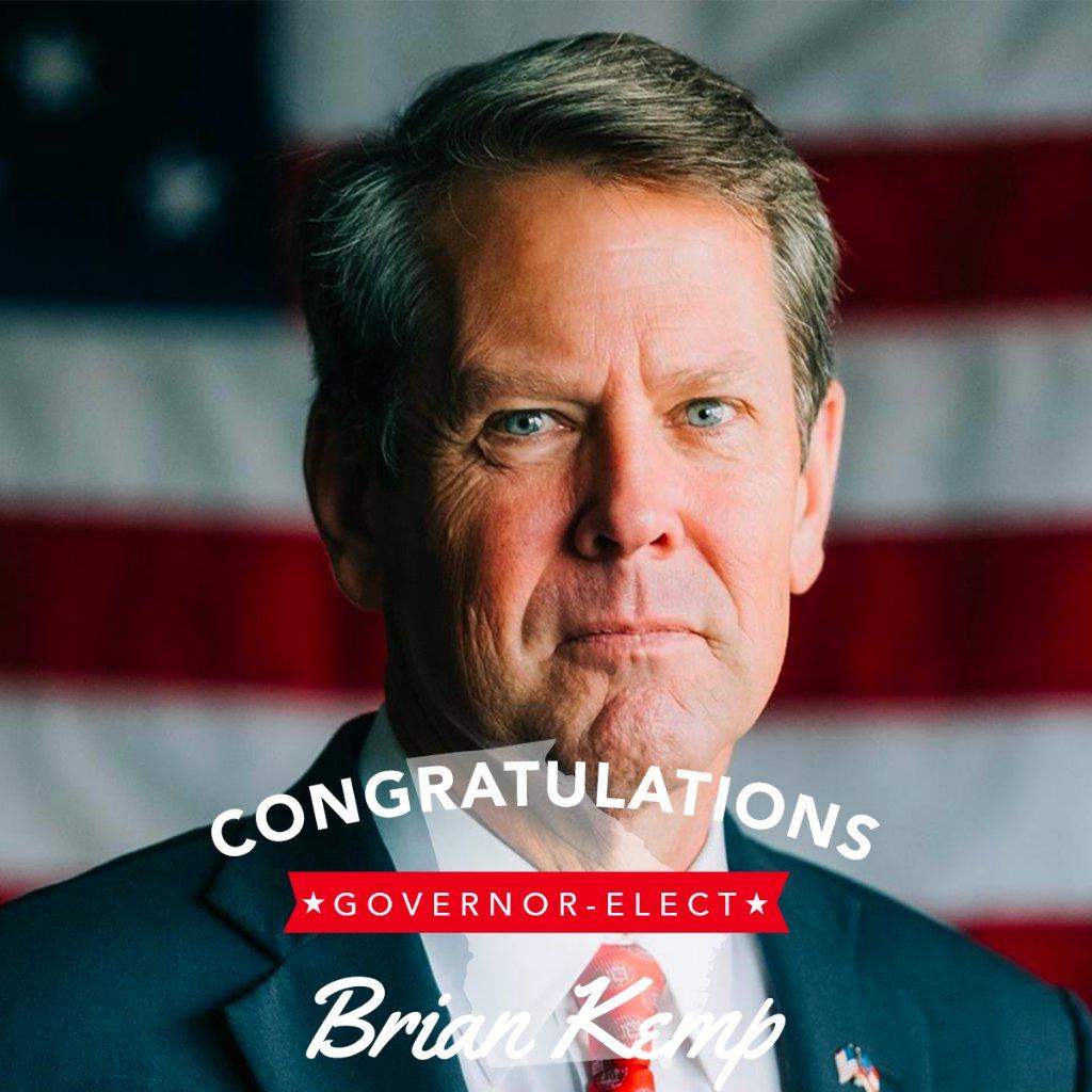 Congratulations to the next GOVERNOR of GEORGIA, @BrianKempGA!