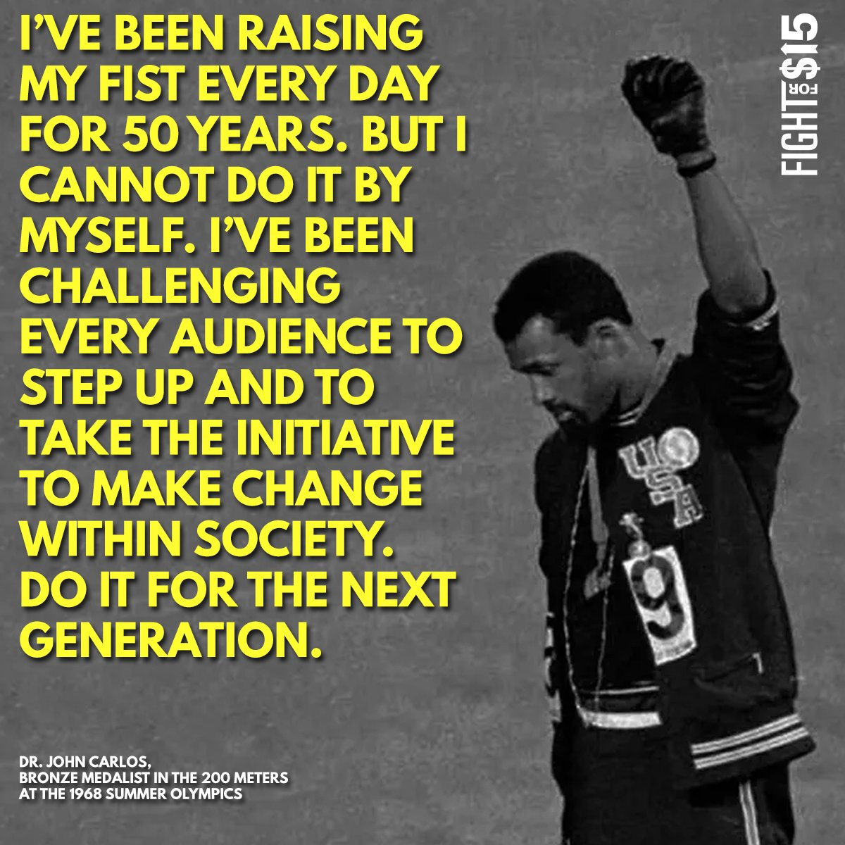 Tommie Smith, John Carlos, and Peter Norman created a historic touchstone against racism in America. Their inspiration is ours as we fight for racial and economic justice. https://t.co/0qWGNti4k6 #FightFor15