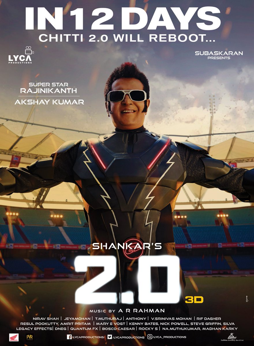Superstar Rajinikanth Birthday date days (12) to go for #2point0. My first Rajini sir movie which I saw in theater is &quot;CHANDRAMUKHI&quot; when I was in 3rd class. My first rajini sir movie which I saw in TV is padayyappa. Now my first Rajini sir 3D movie which I am going to see is 2.O <br>http://pic.twitter.com/HTRlsrQ1EO