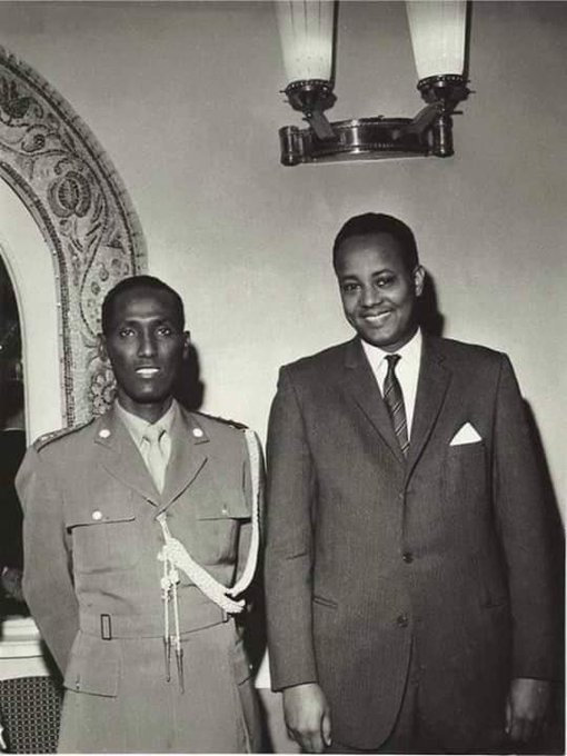 Late chief of the army General Daud Abdulle Hirsi (left) and Ambassador Ahmed Mohamed Adan Qaybe (right) at the Somali embassy in Moscow in 1963. May Allah grant them both jannah. (Photo provided by a Somali diplomat). Фото