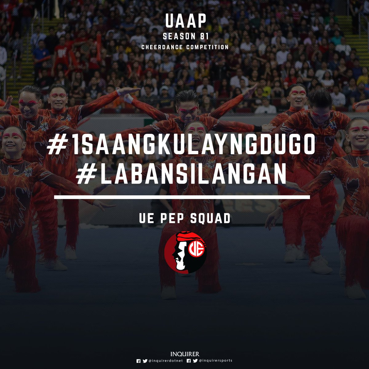 First performer of #UAAPCDC2018: UE Pep Squad! #1saAngKulayNgDugo, #LabanSilangan