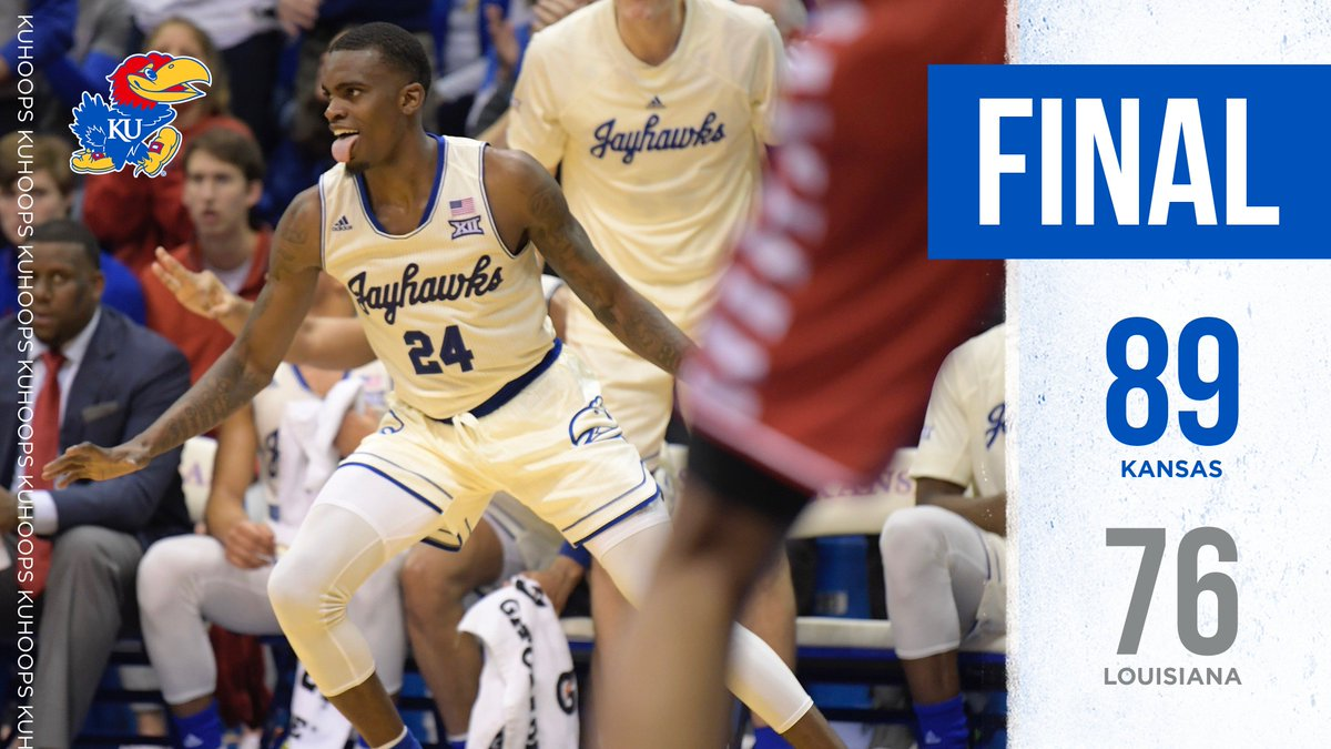 Lagerald Vick was back again.   The senior led all scorers and finished just one rebound shy of a double-double (33 points and 9 rebounds) in tonight&#39;s win over Louisiana! HIGHLIGHTS   http:// kuathne.ws/2zYXJwZ  &nbsp;   #KUbball<br>http://pic.twitter.com/8uRdyRrHEy