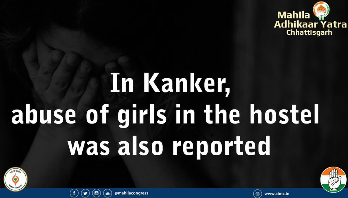 In Kanker, abuse of girls in hostel was also reported during this BJP government&#39;s tenure. Incompetent BJP government is unable to prevent crimes against women #कांग्रेस_संग_जीतेगा_छत्तीसगढ़<br>http://pic.twitter.com/U7ieWSKtmD