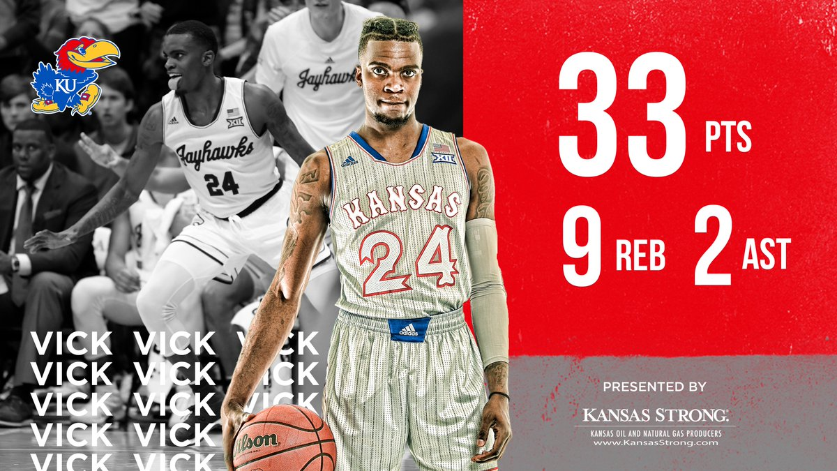 Lagerald Vick became the first player in KU history to hit 7+ threes in back-to-back games #KUbball <br>http://pic.twitter.com/orgyRERehh