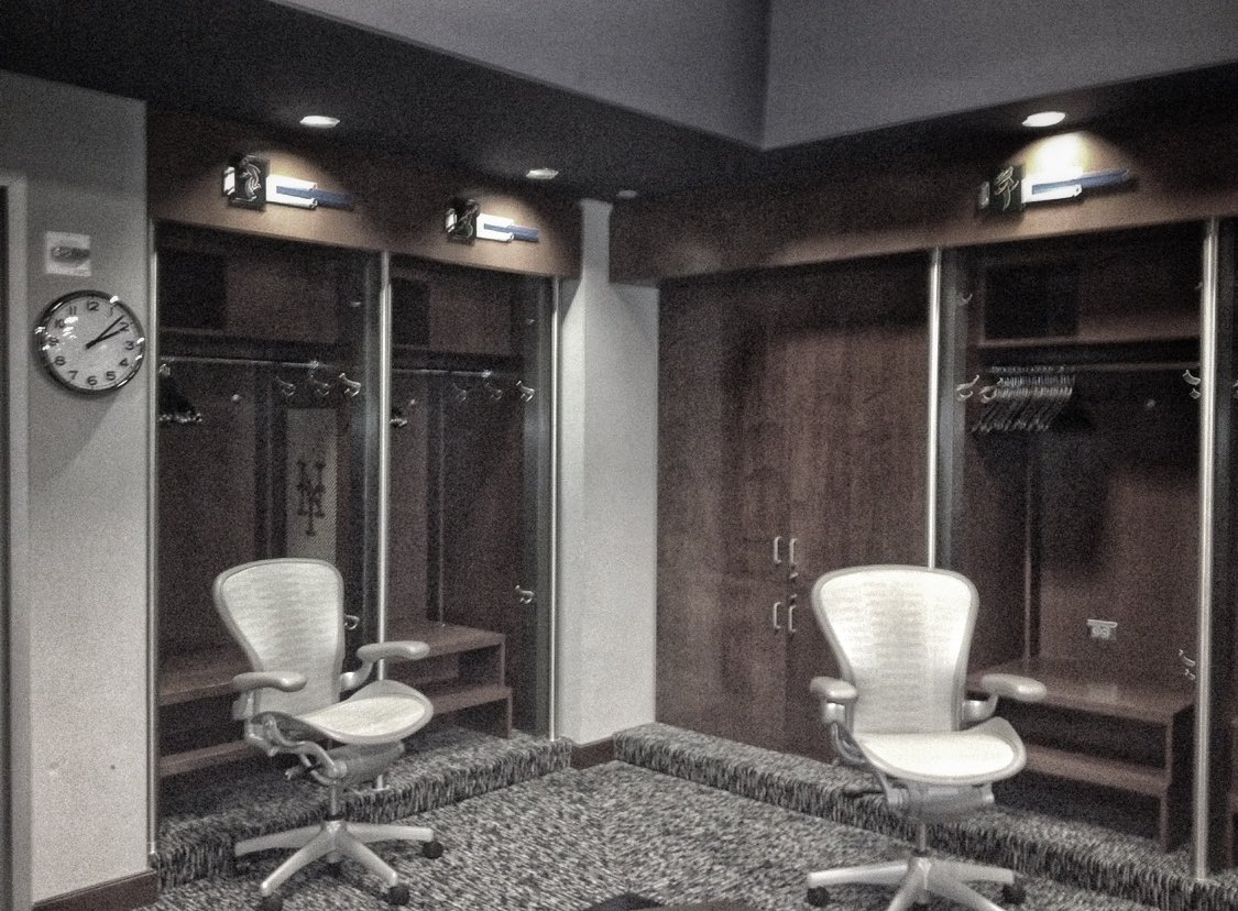 This is sad! #DavidWright's old locker(s). Empty. I wonder who will get the prominent, double spot at the front of the room next season? @JdeGrom19? It's usually a position player, who have more 'stuff,' a team leader, so maybe @mconforto8? #lgm #mets<br>http://pic.twitter.com/g85e8769b4
