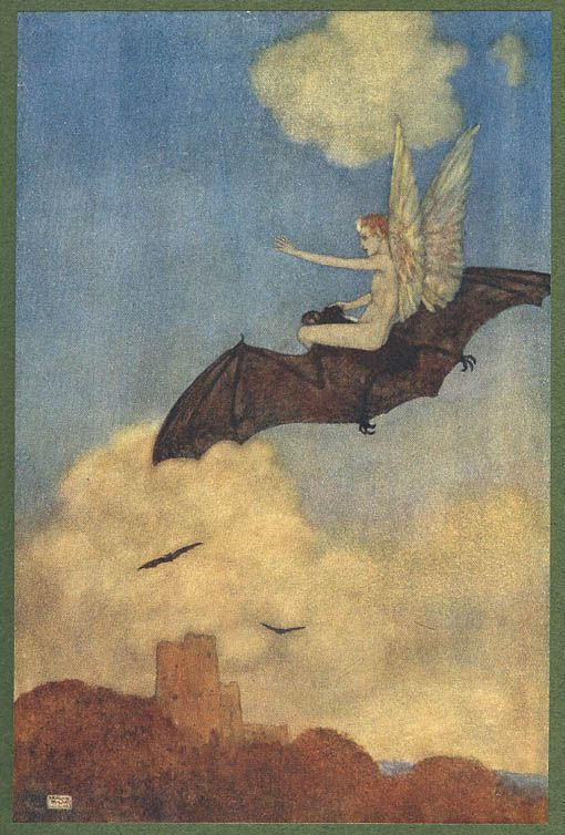BAT-RIDING FEY &amp; WITCHES. &#39;Ariel on a Bat&#39;s Back&#39; from Shakepeare&#39;s &#39;The Tempest&#39;, Edmund Dulac (1915); &#39;witche&#39;s sister on her black bat&#39; , from Ida Rentoul Outhwaite &#39; (1888 – 1960) #BatsUnited @OGOMProject<br>http://pic.twitter.com/IndOWc2doL